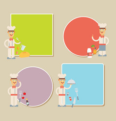 Chef presenting recipe card flat set vector