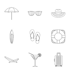 Coast icons set outline style vector