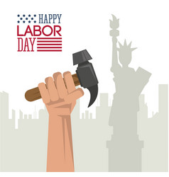 Colorful poster of happy labor day with hand vector
