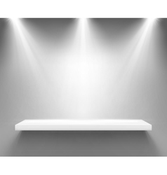 Empty white shelf illuminated by three spotlights vector