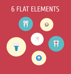 Flat icons treatment tooth seal enamel and other vector