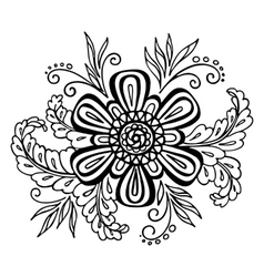 Floral Outline Calligraphic Pattern vector image