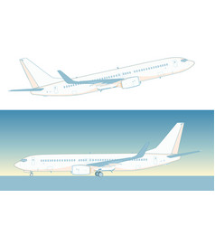 Flying airliner isolated on white vector