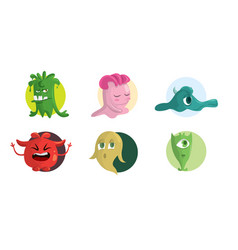 funny cartoon monster set design vector image