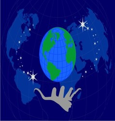 globe in the palm vector image