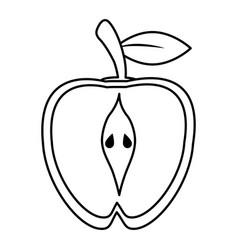 Half apple food healthy image outline vector