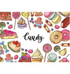 hand drawn colored sweets horizontal vector image vector image