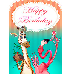 Happy birthday card with funny animals vector