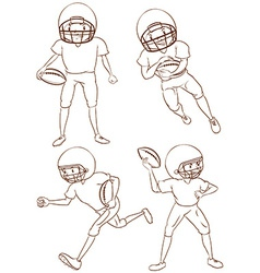 Plain sketches of the american football players vector