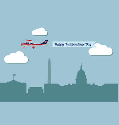 Plane with banner happy independence day vector