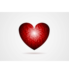 Polygonal red heart shape vector image