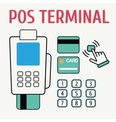 Pos terminal flat color and naked icon vector
