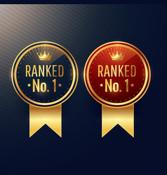 Ranked no1 labels set in two colors vector