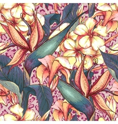 Seamless pattern with exotic flowers vector image vector image