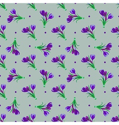 Seamless spring pattern crocus vector
