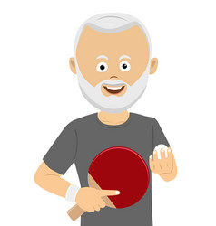 Senior man holding ping pong racket and ball vector