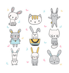 Set of cute hand drawn bunnies and cats vector