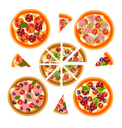 set of pizza with different ingredients vector image vector image