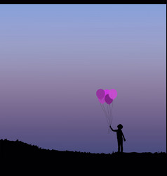 silhouette of children with balloon vector image vector image