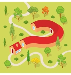 The house in the form of a question mark vector image