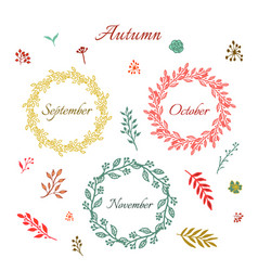 Vintage autumn wreaths vector