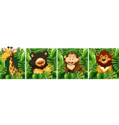 Wild animals behind the bush vector