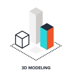 3d modeling flat concept vector
