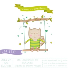 Baby shower or arrival card - baby cat vector