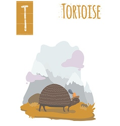 Vertical of tortoise walking in the mountain vector
