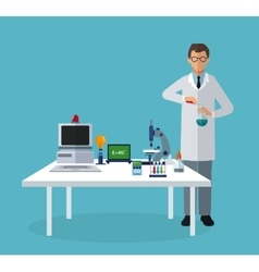 Medical scientist experiment laboratory elements vector