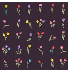 Beautiful silhouettes of tulips vector