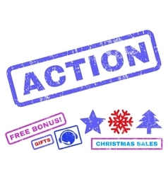 Action rubber stamp vector