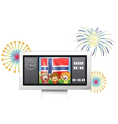 Three kids inside the scoreboard with the flag of vector image