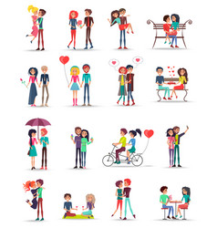 Dating of couples in love collection on white vector