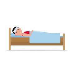 Cartoon ill sick man lying in bed with flu vector