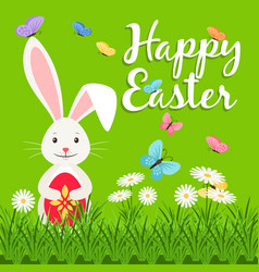 Happy easter elements with rabbit vector
