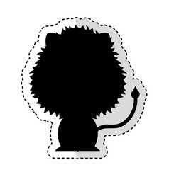 Cute lion silhouette isolated icon vector