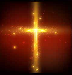 Shining cross on red background with vector