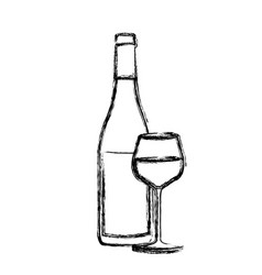 Monochrome sketch silhouette with bottle of wine vector