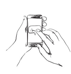 mobile phone in the hands vector image