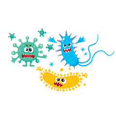 Virus germ bacteria characters with human faces vector