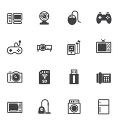 Home electronic device icons set for internet vector