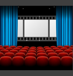 Cinema movie retro concept with seats rows film vector
