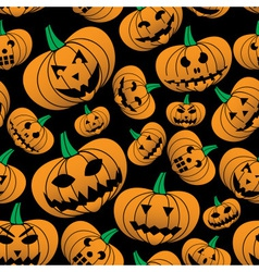 Orange halloween carved pumpkin seamless pattern vector