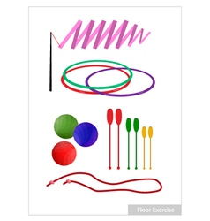 Set of rhythmic gymnastic equipments on white vector