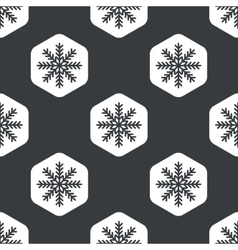 Black hexagon snowflake pattern vector