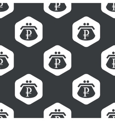 Black hexagon ruble purse pattern vector