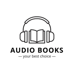 Modern audio books store logo line style vector