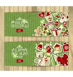 Christmas banner set on green knitting texture vector image