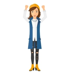 Woman with raised hands up vector